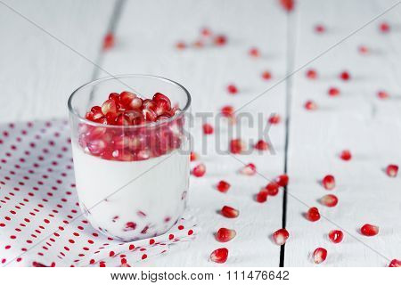 Jelly Gelatin Cream Dessert Or Panna Cotta With Pomegranate Seed