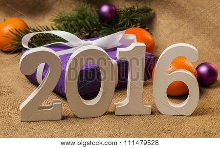 Tag 2016, Gift With Postcard And Christmas Decorations