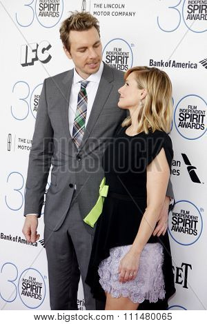 Dax Shepard and Kristen Bell at the 2015 Film Independent Spirit Awards held at the Santa Monica Beach in Santa Monica on February 21, 2015.