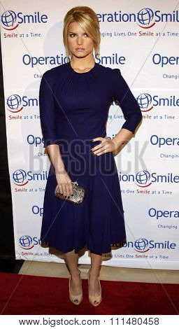 Jessica Simpson attends the Operation Smile 25th Anniversary Gala held at the Beverly Hilton in Beverly Hills, California, United States on October 5, 2007.