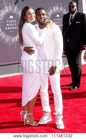 Jordin Sparks and Jason Derulo at the 2014 MTV Video Music Awards held at the Forum in Los Angeles on August 24, 2014 in Los Angeles, California.