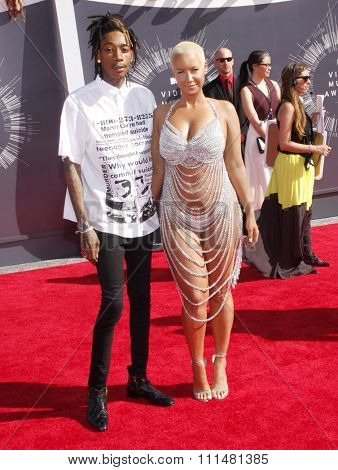 Wiz Khalifa and Amber Rose at the 2014 MTV Video Music Awards held at the Forum in Los Angeles on August 24, 2014 in Los Angeles, California.