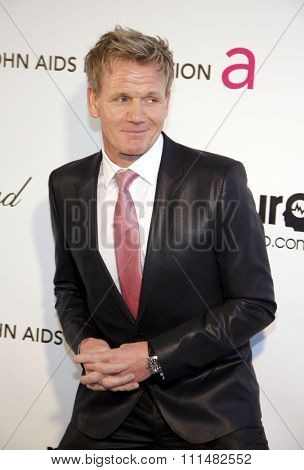 Gordon Ramsay at the 21st Annual Elton John AIDS Foundation Academy Awards Viewing Party held at the Pacific Design Center in West Hollywood on February 24, 2013 .