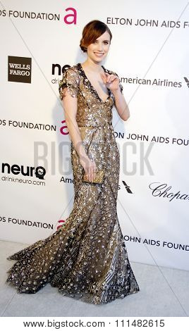 Emma Roberts at the 21st Annual Elton John AIDS Foundation Academy Awards Viewing Party held at the Pacific Design Center in West Hollywood on February 24, 2013.