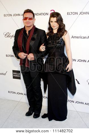 Bono and Eve Hewson at the 21st Annual Elton John AIDS Foundation Academy Awards Viewing Party held at the Pacific Design Center in West Hollywood on February 24, 2013.