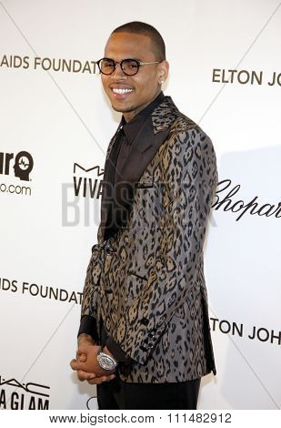 Chris Brown at the 21st Annual Elton John AIDS Foundation Academy Awards Viewing Party held at the Pacific Design Center in West Hollywood on February 24, 2013.