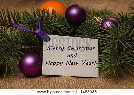 Tag Merry Christmas And Happy New Year, Orange Tangerines