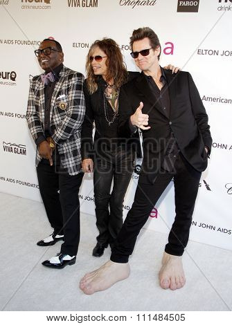 Randy Jackson, Steven Tyler and Jim Carrey at the 21st Annual Elton John AIDS Foundation Academy Awards Viewing Party held at the Pacific Design Center in West Hollywood on February 24, 2013.