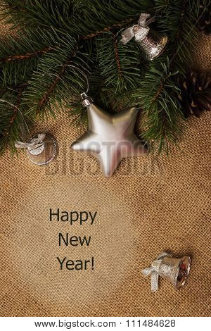 Tag Happy New Year, Fir-cones, Christmas Decorations