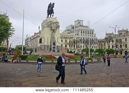 Lima, Peru - December 2, 2015: Monument To General Jose De San M