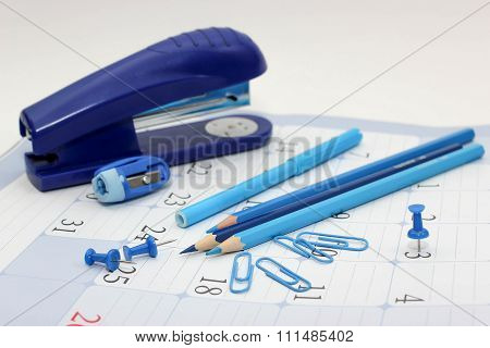 Stationery is blue.