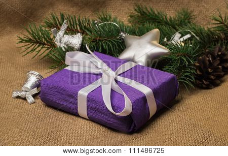 Purple Gift, Christmas Decorations, Fir-cones