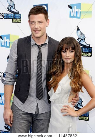 Lea Michele and Cory Monteith at the 2012 Do Something Awards held at the Barker Hangar in Santa Monica on August 19, 2012.