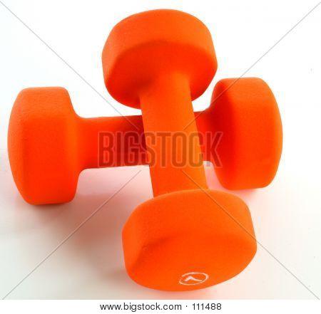 Crossed Orange Dumbells