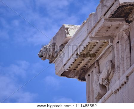 Athens Greece, lion head on Parthenon ancient temple