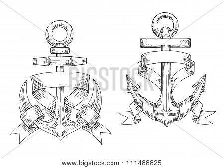 Sketched marine anchors wrapped by ribbon.