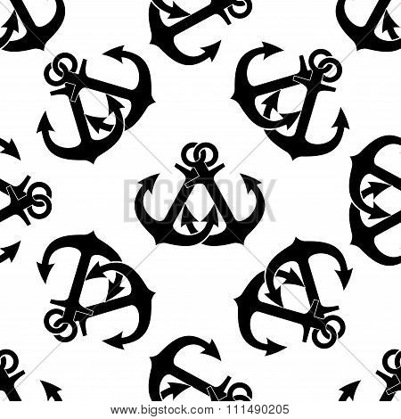 Marine crossed anchors seamless pattern