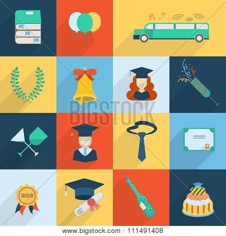 Set Of Graduation Celebration Elements