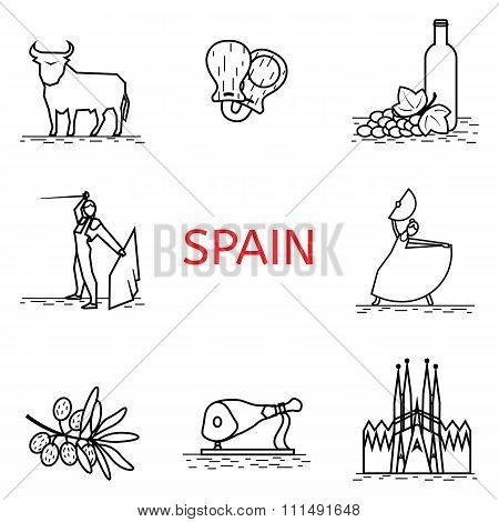 Vector  line Spain icon. Corrida, flamenco, jamon, Sagrada. Spanish culture