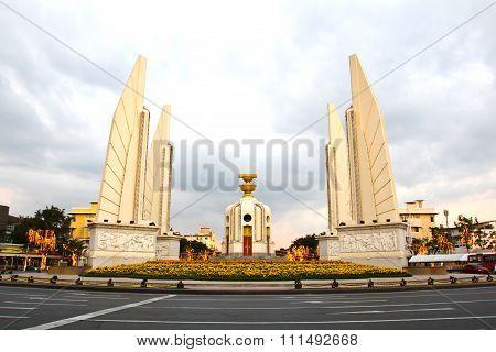 Democracy Monument At Dusk, Bangkok, Thailand.