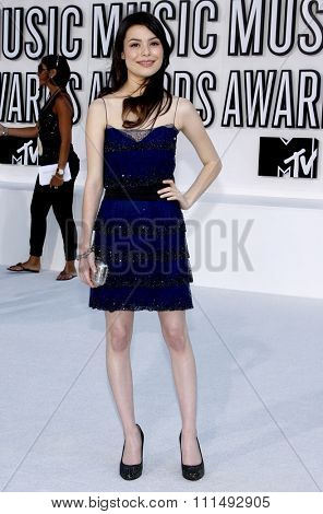 Miranda Cosgrove at the 2010 MTV Video Music Awards held at the Nokia Theatre L.A. Live in Los Angeles on September 12, 2010.