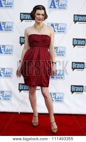 Milla Jovovich at the 2009 Bravo's A-List Awards held at the Orpheum Theatre in Los Angeles on April 5, 2009.