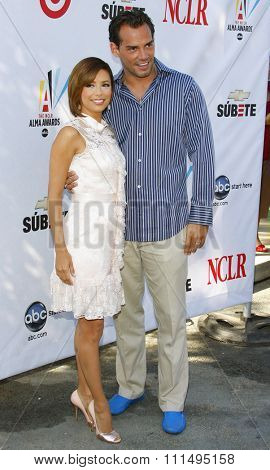 Eva Longoria Parker and Cristian de la Fuente at the 2008 ALMA Awards Nominees Press Conference held at the Wisteria Lane, Universal Studios Back Lot in Hollywood, United States on July 21, 2008.