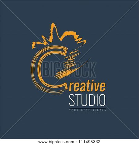 Abstract trend letter C logo design template.