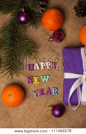 Tag Happy New Year, Gift, Postcard And Christmas Decorations