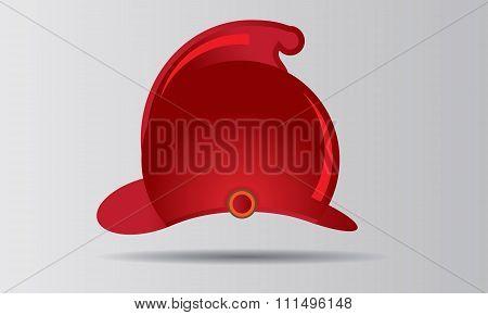 Red firefighter helmet vector illustration badge or emblem.