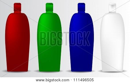 Shampoo bottle mock-up collection promo objects brand set