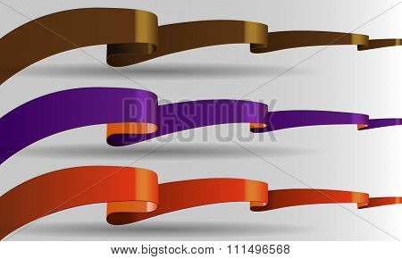 Long vector, shining ribbon banners in 3 color