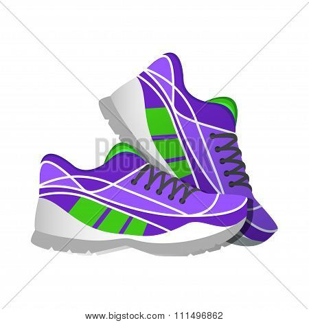 Violet Sport Sneakers, Modern Illustrations In Flat Style. Vector Illustration.