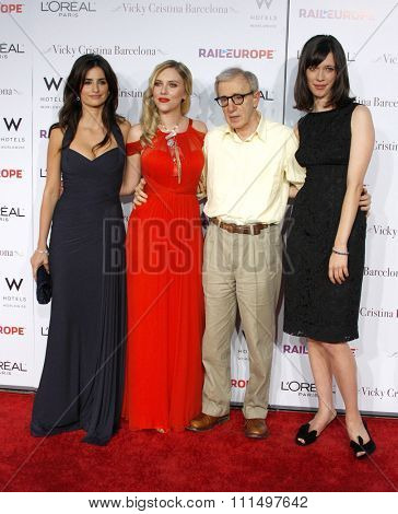 Penelope Cruz, Scarlett Johansson, Woody Allen and Rebecca Hall at the Los Angeles premiere of 'Vicky Cristina Barcelona' held at the Mann Village Theatre in Westwood on August 4, 2008.