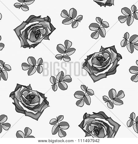Seamless Pattern Made From Black And White Roses And Rose Leaves.