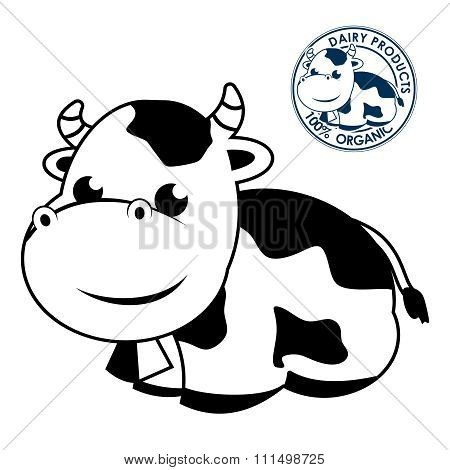 Vector Cute Dairy Cow Illustration isolated on white background