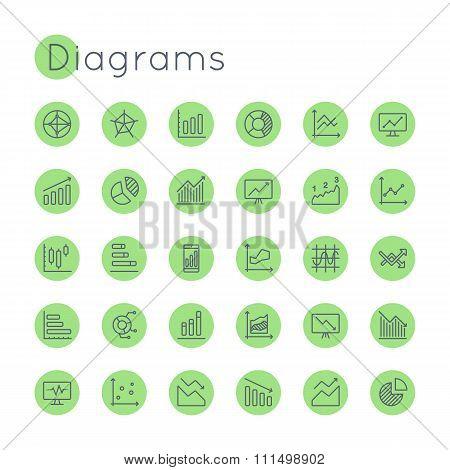 Vector Round Diagrams Icons