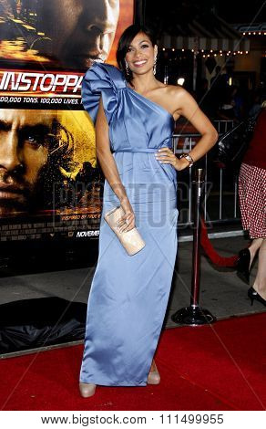 Rosario Dawson at the Los Angeles premiere of 'Unstoppable' held at the Regency Village Theatre in Westwood on October 26, 2010.