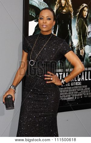 Aisha Tyler at the Los Angeles premiere of 'Total Recall' held at the Grauman's Chinese Theatre in Hollywood on August 1, 2012.