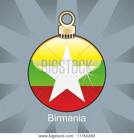 asian flag in christmas bulb shape