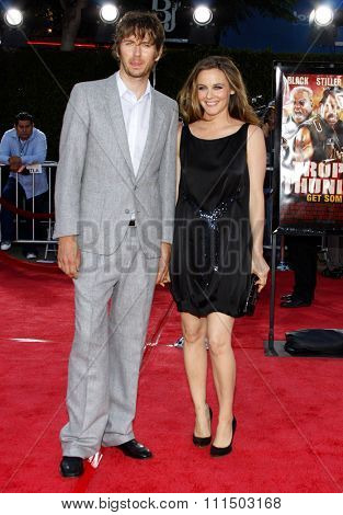 Alicia Silverstone and Christopher Jarecki at the Los Angeles premiere of 'Tropic Thunder' held at the Mann Village Theater in Westwood on August 11, 2008.