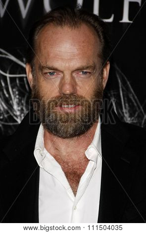 Hugo Weaving at the Los Angeles premiere of 'The Wolfman' held at the ArcLight Cinemas in Hollywood on February 28, 2010.