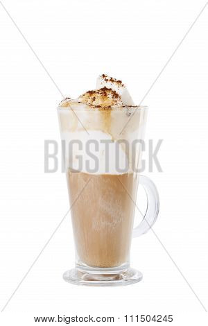 Cappuccino With Icecream And Butterscotch Topping Isolated On White Background