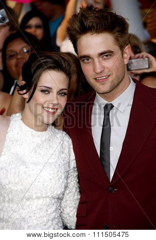 Kristen Stewart and Robert Pattinson at the Los Angeles premiere of 'The Twilight Saga: Eclipse' held at the Nokia Theatre L.A. Live in Los Angeles on June 24, 2010.