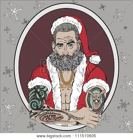 Christmas and New Year greeting card with the image of Santa Claus as a brutal man.