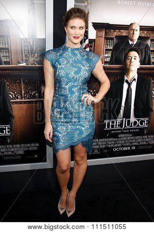 Sarah Lancaster at the Los Angeles premiere of 'The Judge' held at the AMPAS Samuel Goldwyn Theater in Los Angeles on October 1, 2014.