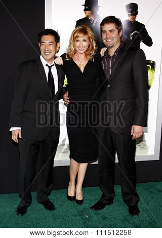 Grant Imahara, Kari Byron and Tory Belleci at the Los Angeles premiere of 'The Green Hornet' held at the Grauman's Chinese Theatre in Hollywood on January 10, 2010.