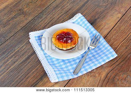 Fruit Cake on Vintage Retro Woody Background.