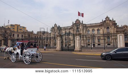 Lima, Peru - December 2, 2015: Government Palace On 2 December 2