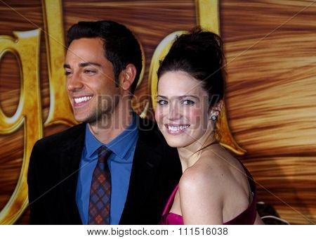 Zachary Levi and Mandy Moore at the Los Angeles premiere of 'Tangled' held at the El Capitan Theater in Hollywood on November 14, 2010.